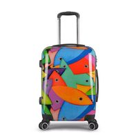 Trolley School Bag Fishion fishy pattern ABS+PC travel luggage bags 360 Wheel