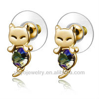 Best selling alloy crystal cat shape plastic 925 sterling silver earring stud