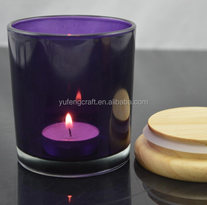 glass candle jar with wooden