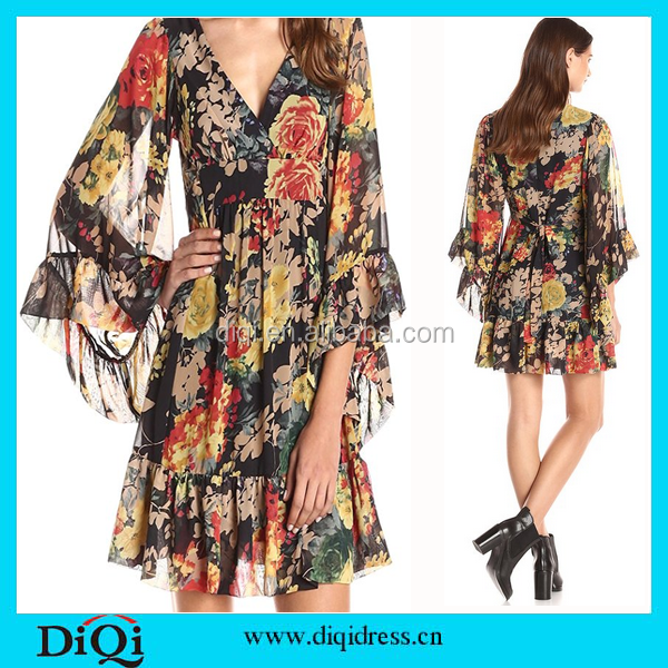 OEM New Latest Ladies Dress Designs Printed Floral Boho Fashion Sexy Chiffon Woman Dress