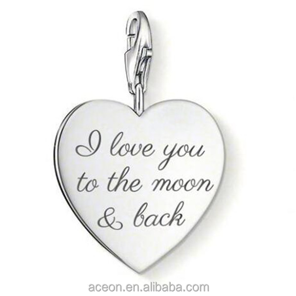 Yiwu Aceon Stainless Steel Inspired Heart Charm engraved with I Love You To The Moon and Back