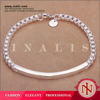 2014 wholesale box chain silver mens anklets