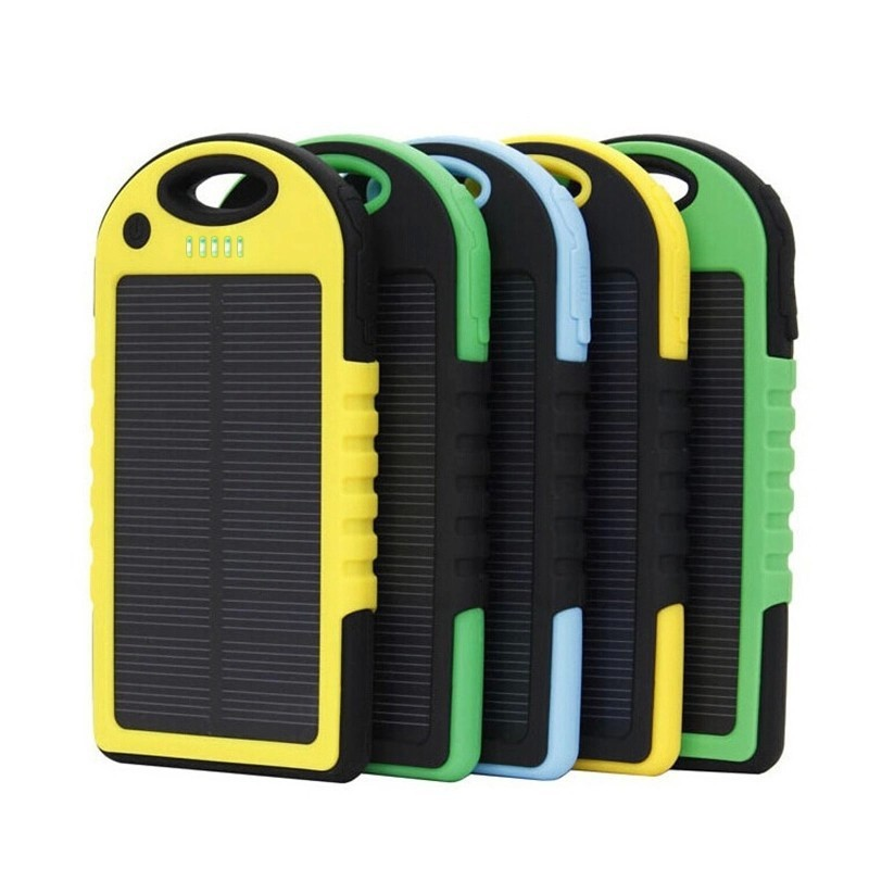 Portable Solar Mobile Phone Charger Solar Cell Phone Power Bank 5000mah USB Cable Charger