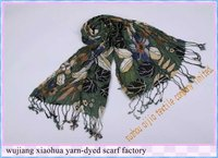 2011 new Fashion Long 20% argent gold & 80% viscose big flower printed scarf