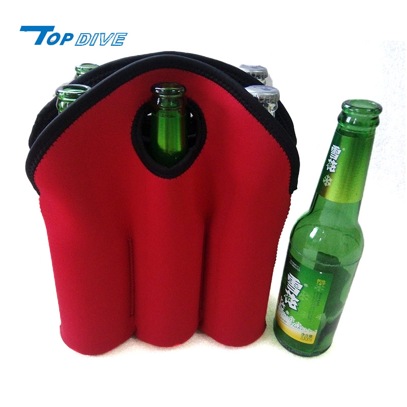 Durable and flexible red neoprene bottle cooler bag for longneck beer bottles