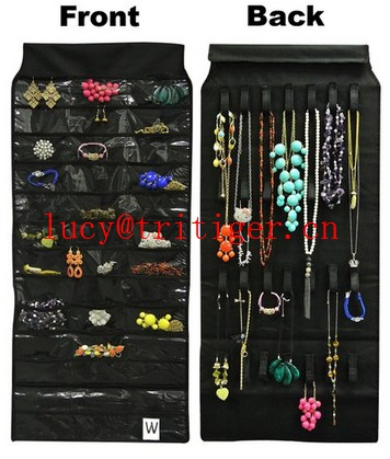 Dual Sides Hanging Jewelry Organizer Holder 39 Pockets 28 Hook Holder Storage Bag Black