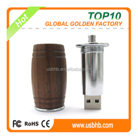 2016 best external storage pendrive 4GB with Rohs, wooden beer bar shape usb pendrive 4GB