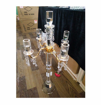 Wholesale tall Wedding centerpieces metal crystal 5 arm metal candelabras