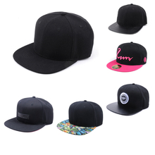 Wholesale customized 6 panel blank snapback caps plain flat brim snapback hats and caps