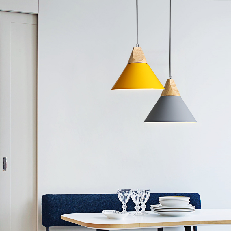 Nordic Chandelier Bar Lamp Coffee Shop Dining Room Macaroon Wood Single Head Hanging <strong>Lights</strong>