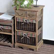 Antique brown solid wood storage cabinet with paper woven baskets