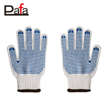7G white cotton knit gloves bulk with PVC on palm double side