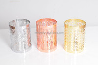 silver/copper/gold plated metal glass hurricane votive candle holder