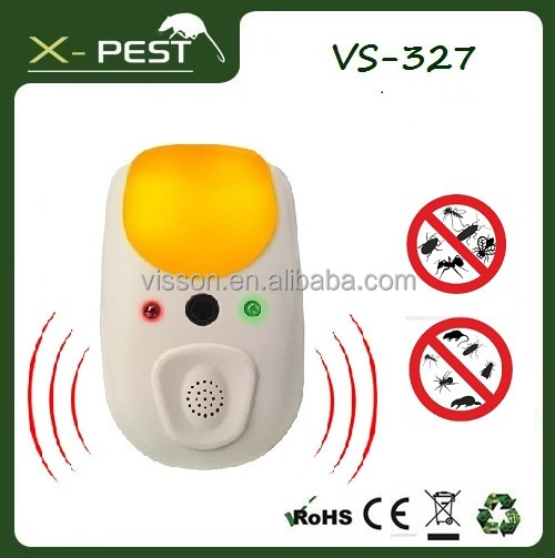 2016 Visson New design VS-327 X-pest Indoor AC Plug 4 in 1electronic ultrasonic 270 degree bed bug pest insect fly repeller
