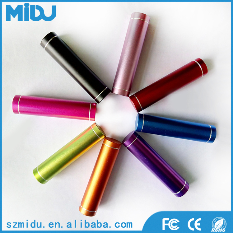 MIDU M-L2 2600mAh Colorful Portable Mini Smart Lipstick Power Bank For All Phones