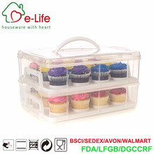 PP Plastic Transparent 24pcs Cupcake Carrier with 2 tier and Easy Tabking Design