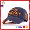 high quality Br navy 100% cotton baseball cap with applique embroidery logo
