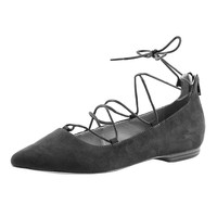 OLZP005 2016 new style hot selling high quality comfortable black leather lace up women flats shoes