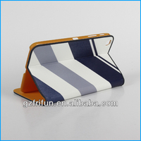 blue color stripe print smart 8'' tablet pc leather case