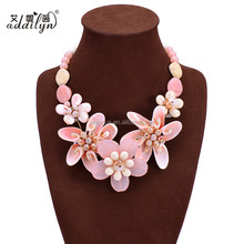 New Designs Acrylic Flowers Statemen Women Necklace Jewelry