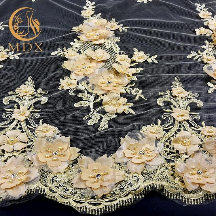 Handmade French tulle lace/bridal beaded wedding lace fabric with 3d flowers