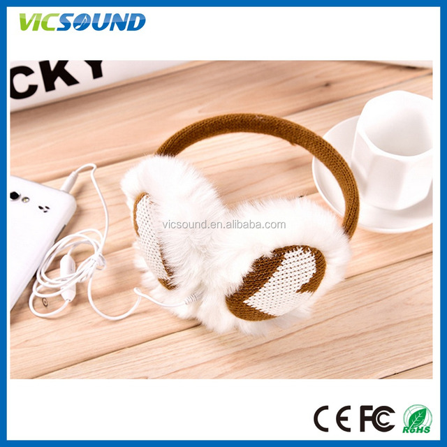 Hot Selling Winter fuzzy Earmuffs with earphones,children ear muff girls winter earmuff