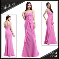China OEM wholesale 2015 latest western design long dress ladies evening party wear bridesmaid dresses