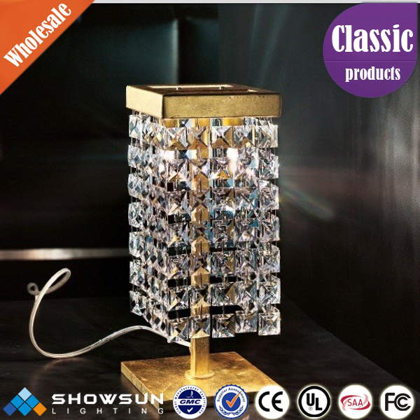 Unique square bedroom crystal table light with 100% on time shipment