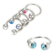 G23 Titanium Body Piercing Highly Polished Titanium Double Gem Horseshoe Circular Barbell Body Jewelry