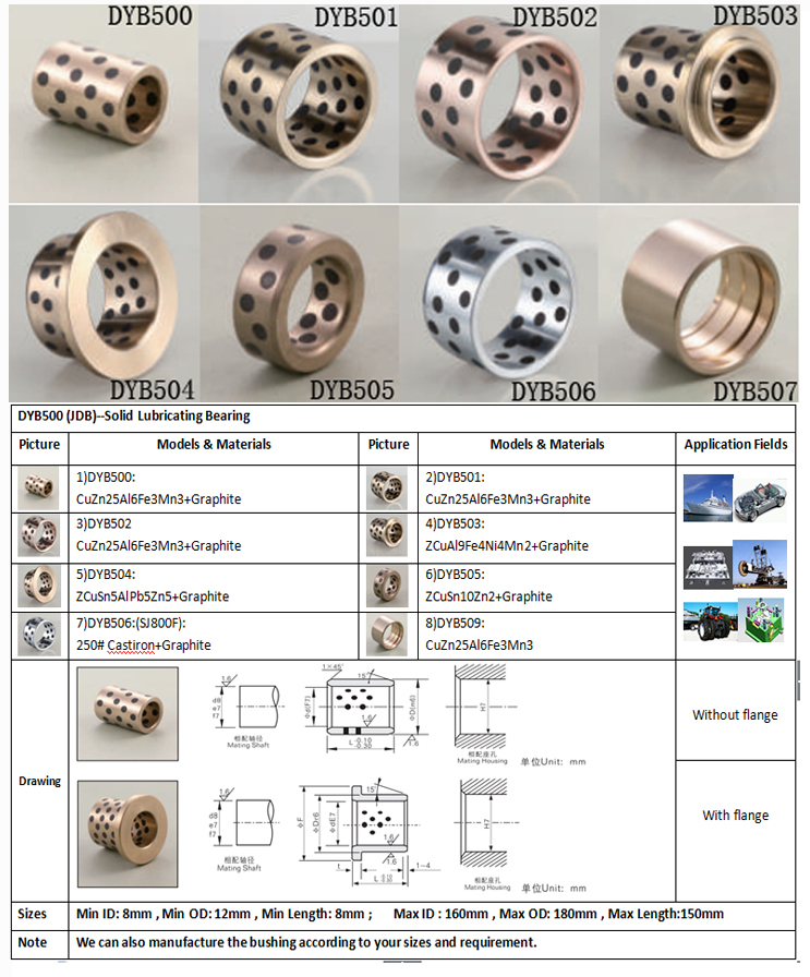 JDB Bushing manufacture brass graphite insert high quality full bronze made SOB copper graphite bush