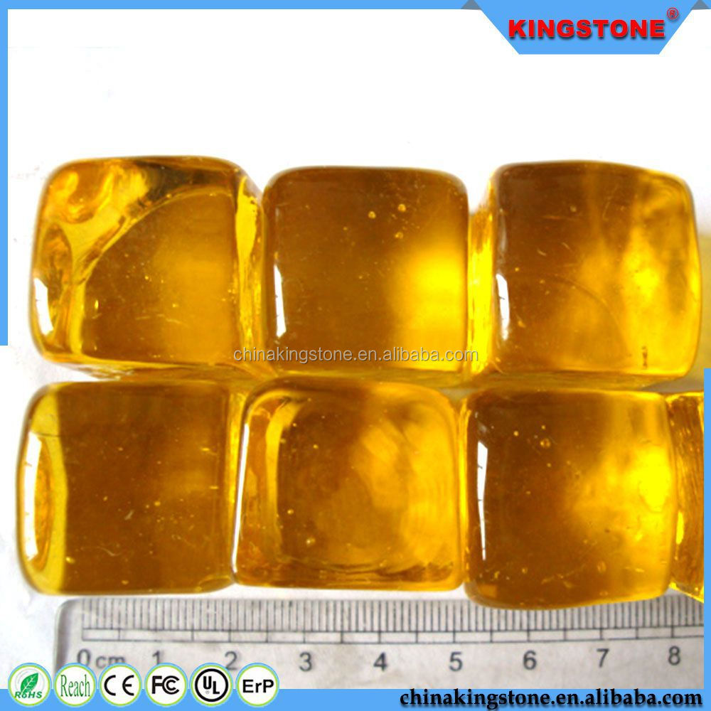 Professional production transparent yellow wall decoration glass pebble,glass pebble like candy,polished pebble cobble