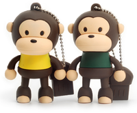 Promotional gifts 4gb 8gb 16gb pvc cartoon monkey animal shape usb flash drive with high capacity