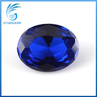 synthetic corundum oval cut blue sapphire