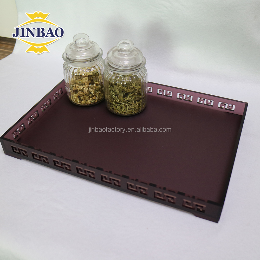 JINBAO high-end professional showing wholesale customize clear acrylic serving trays display in hotel