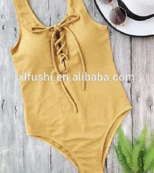 NEW!With Pad Lace Up Front Sexy Woman Textured Ribbed One Piece Swimsuit