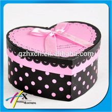 Custom fancy black&pink color polka dot design heart shape paper gift box with pink ribbon on the lid