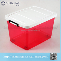 110L Pink big plastic storage box big large storage box plastic container with lid wheels clear plastic food containers with lid