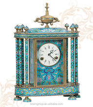 Antique Imitation Cloisonne Enamel Clock, Retro Mechanical Table Clock
