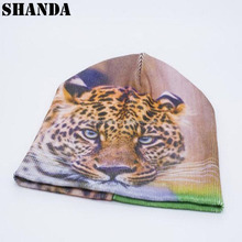Hot sale tiger custom sublimation printing beanies hat and cap