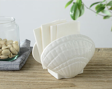 ceramics seashell shape napkin holder for hotel and weddings