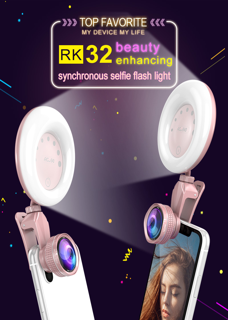 RCOSE supply RK32 LED selfie ring light flash for multiple Photography mini selfie sync led flash which built-in