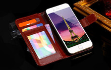 Customized Wallet crazy horse Flip Cover Stand with Card Holder Case Cover for Lenovo K800