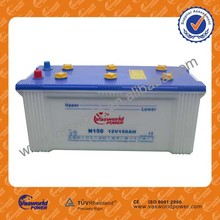 wholesale Chinese manufactory Japan technology JIS Standard N150 12v 150ah dry charged car battery price for dubai market