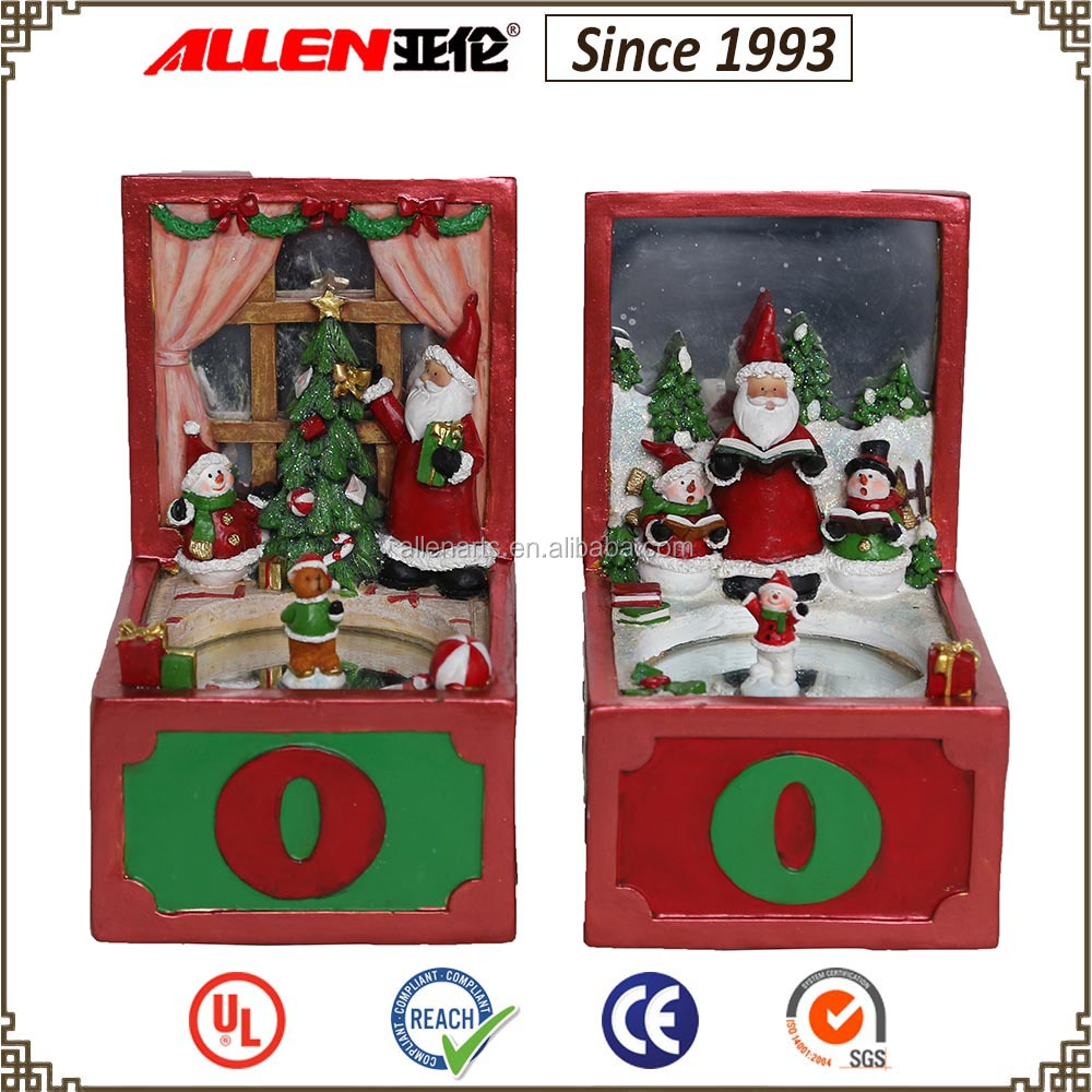 "6.3"" resin ice skating music box, snowman and Santa claus Christmas music box"