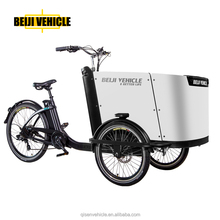 front loading electric cargo tricycle with pedals