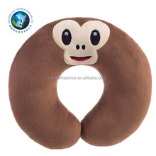 2016 Cheap cartoon travel neck U shaped pillow cushion wholesale funny soft plush stuffed monkey emoji pillow
