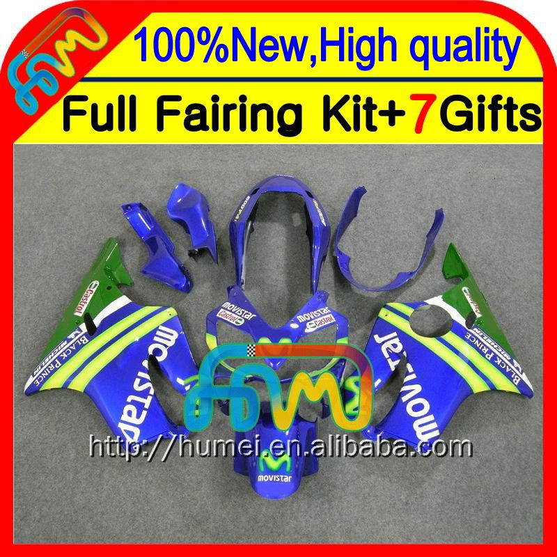 7gifts For HONDA CBR600F4i Movistar 04 05 06 07 CBR 600F4i 23CL16 CBR600 F4i Blue green 2004 2005 2006 2007 Fairings Fairing