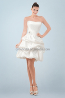 Exquisite Short Strapless A-line Wedding Dress with Ruches and Delicate Pick-up Skirt made in china factory
