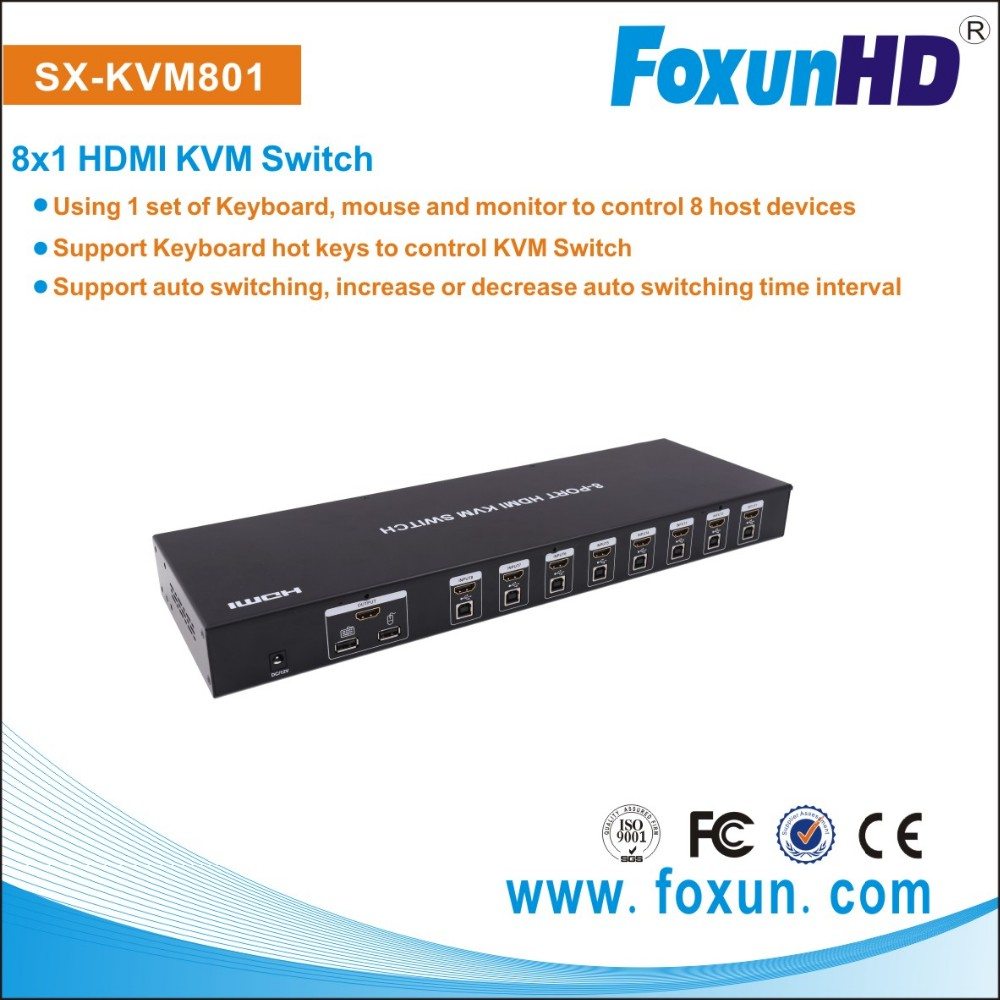 8X1 USB HDMI KVM Switch support keyboard to control KVM swtich SX-KVM801 support auto switching