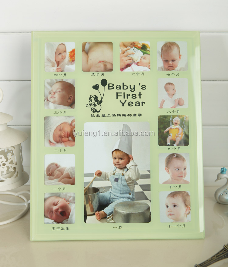cheap wholesale colorful baby one year glass wall hanging photo picture frame 25x35
